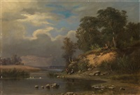pastoral landscape by aleksandr vasil'evich gine