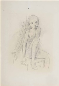 a seated boy by karl hofer