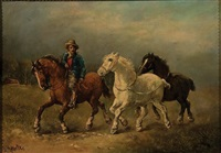 rider with horses by harden sidney melville
