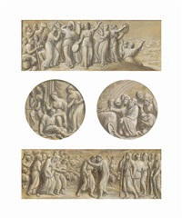 the israelites celebrating...; the meeting of moses and aaron...; samson and delilah; the sacrifice of noah; the sacrifice of isaac; lot and his wife fleeing sodom (?) (6 works) by luigi ademollo