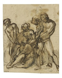 the martyrdom of a male saint (+ study of a male nude, red chalk, verso) by giovanni bilivert