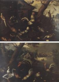 scène de basse-cour avec des oiseaux décoratifs dans un paysage de rivière by vaclav vavrinec reiner