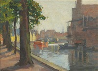 trees along a canal by charles pickering townsley