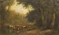 cattle in the stream by william mckendree snyder