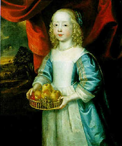 portrait of a young girl holding a basket of fruit by john hayls