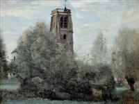 crécy – enbrie. clocher du village by jean-baptiste-camille corot