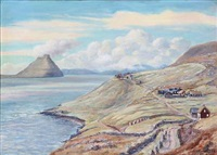 view from faroe islands with houses by joen waagstein