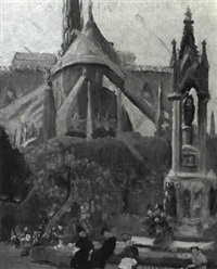 figures in a park outside notre dame by walter pach