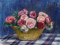 still life of roses in a basket by nora heysen
