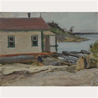 houseboat at split rock island, georgian bay by james edward hervey macdonald