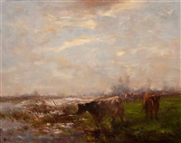 meadow with cows by the water by willem maris