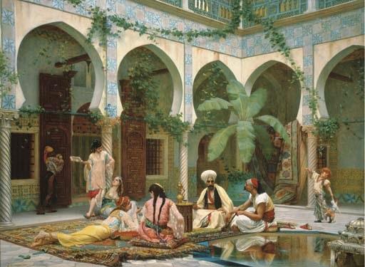 la cour du palais de dar khdaouedj el amia alger by gustave clarence rodolphe boulanger