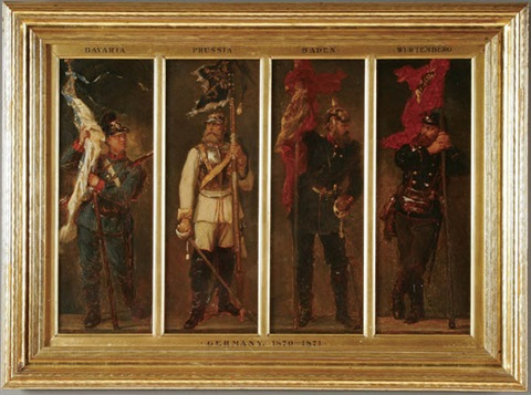 the german empire depicting the uniform and colors of bavaria prussia baden würtemburg in 4 parts by georg bleibtreu