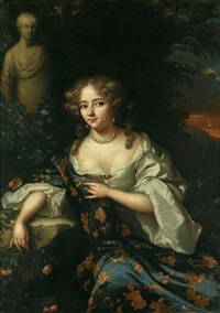 portrait of a lady, three-quarter length, wearing a white silk chemise and a gold embroidered blue dress by aleijda wolfsen