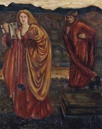 merlin and nimue from le morte d'arthur by edward burne-jones