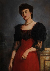 portrait of a lady in a red dress by george augustus freezor
