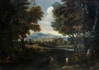 paysage animé de pêcheurs à l'orée d'une ville by pier paolo (g.b. carracci) bonzi