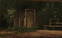 bench at an entrance to a garden by hans christian fischer