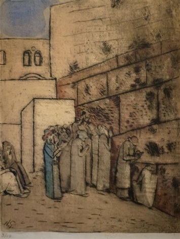 jews at the wailing wall by nachum gutman