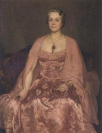 portrait of a lady in an ornately embroidered pink dress by flora lion