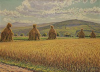 paysage de moisson by gustave camille gaston cariot