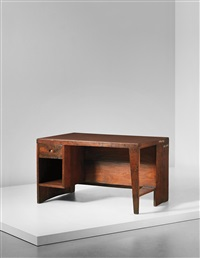 office desk with bookcase, designed for the secretariat and administrative buildings, chandigarh, model no. pj-bu-02-a by pierre jeanneret