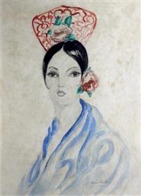 portrait en buste de jeune femme espagnole au peigne rouge by francis picabia