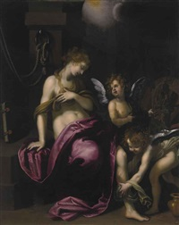 saint catherine of alexandria with two angels by giovanni bilivert
