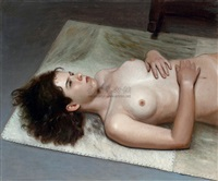 the lying female nude by bai jingzhou