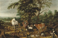 orpheus enchanting the animals by david colyns