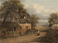 rural landscape with figure by a cottage (pair) by thomas smythe