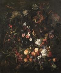 cartouche sculpté et décoré de fleurs et de fruits animé d'oiseaux by peter (petrus) snyers