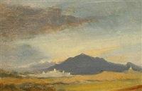landscape with a mountain, presumably from the roman campagna by ludwig heinrich theodor (louis) gurlitt