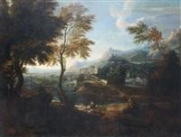 paysage de campagne traversé par un fleuve avec des architectures de villes antiques by gabriel allegrain