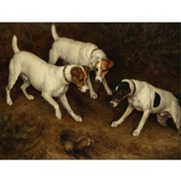 not at home: cracknell, olive and jack russell on a ferret by frank paton
