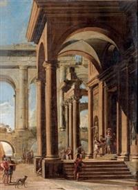 scène antique dans des arcades de palais classiques by viviano codazzi