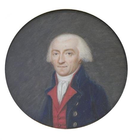 portrait dhomme en habit bleu gilet rouge chemise et cravate blanches by thouesny