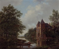 a river landscape with anglers in a rowingboat by a ruined mansion by frans arnold breuhaus de groot