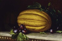 still life with melons and plums by frederick s. batcheller