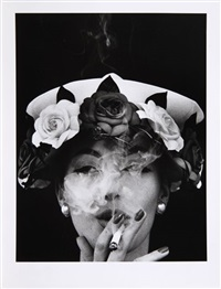 woman with hat + 5 roses, paris (vogue) by william klein
