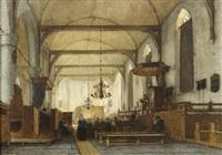 the interior of the bakenesse church, haarlem by jan jacob schenkel