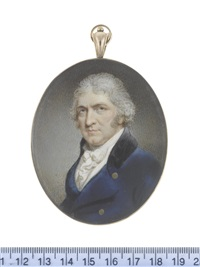 a gentleman, wearing blue coat with black collar, white waistcoat, chemise, stock and tied cravat, his hair powdered by philip jean