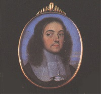 portrait of a gentleman (andrew marvell?) with moustache, wearing black robes by franciszek smiadecki