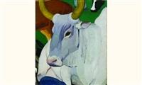 taureau pour le paradis terrestre - étude (+ un cheval avec des essais de couleurs, verso) by louis léon eugène billotey