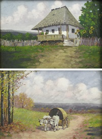 peasant house, cart with tilt (2 works) by ion dobosariu