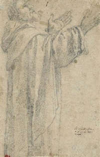 saint dominic, three-quarter-length, looking up in profile to the right (dbl-sided) by lionello spada