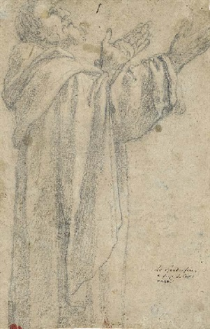 saint dominic three quarter length looking up in profile to the right dbl sided by lionello spada