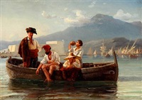 four italians in a rowboat with sailing ships and mountains in the background by daniel hermann anton melbye