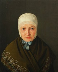 portrait of a woman with bonnet and shawl by jörgen roed