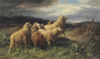 sheep startled by a hare by johann baptist hofner